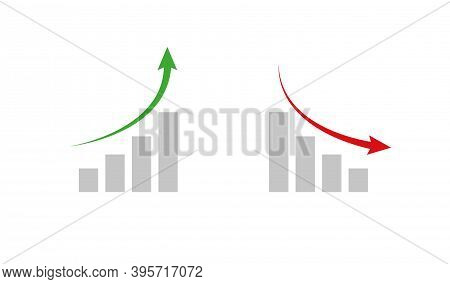 Graph, Growth And Decline Icon. Aroww Chart, Vector Isolated Illustration