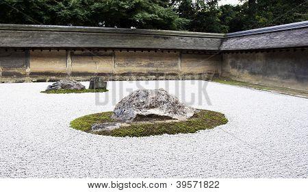 Ryoanji Temple.in A Garden Fifteen Stones On White Gravel. Kyoto.japan.