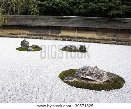Famous Zen Garden Of The Ryoan-ji Temple In Kyoto