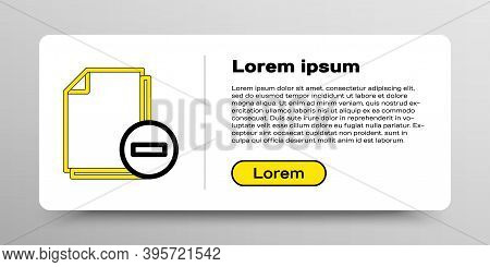 Line Document With Minus Icon Isolated On White Background. Clear Document. Remove File Document. De