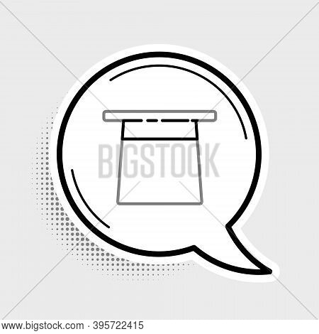 Line Magician Hat Icon Isolated On Grey Background. Magic Trick. Mystery Entertainment Concept. Colo