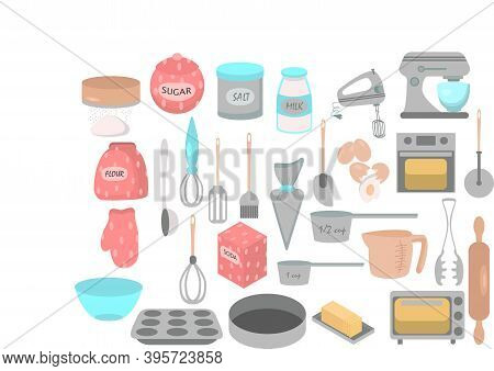 Bakery Icons Set. Vector Elements For Your Design. Vector Hand Drawn Set Bakery Goods