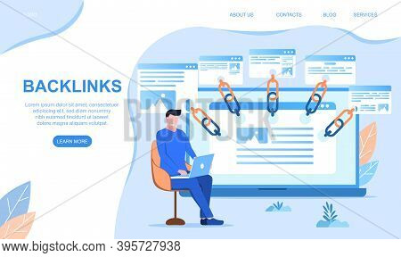 Backlinks Or Link Building. Seo Search Engine Optimization Abstract Concept. Cartoon Flat Vector Ill