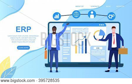 Erp System Concept. Enterprise Resource Planning System On Virtual Ar Screen With Connections Betwee