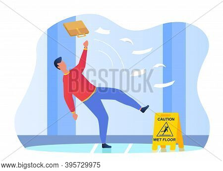 Man Falling On The Wet Floor. Caution Sign, Warning Slippery Floor. Injury And Accident. Cartoon Fla