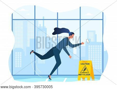 Woman Falling On The Wet Floor. Caution Sign, Warning Slippery Floor. Injury And Accident. Cartoon F