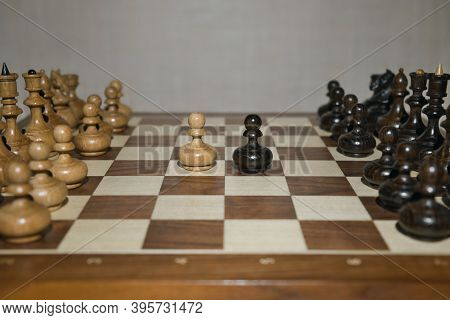 Chess Game With Wooden Chess Pieces. The Debut Of Chess Game.