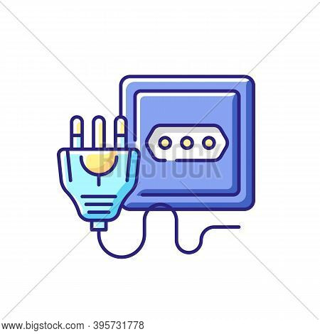 Power Outlet Rgb Color Icon. Type L Socket To Plug In Home Appliance. Disconnect Appliance Cord. Tec