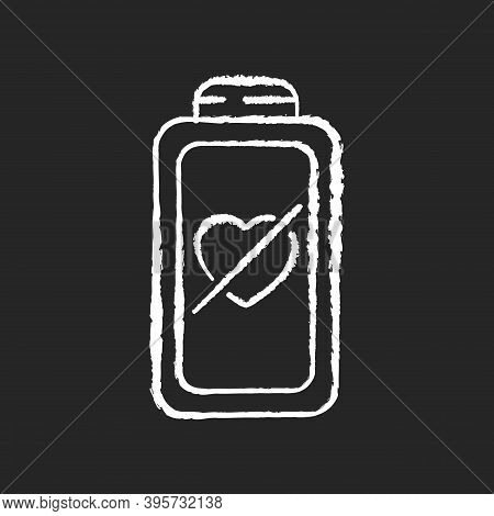 Fully Discharged Battery Chalk White Icon On Black Background. Low Percantage On Your Device. Disabl
