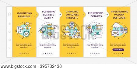 Business Counseling Tasks Onboarding Vector Template. Identifying Problems. Influencing Lobbyists. R