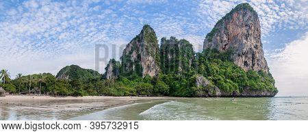 Panoramic View Of The Exotic Beach Of Railay, Krabi, Andaman Sea, Thailand
