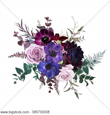Marvelous Violet, Purple And Burgundy Anemone, Dusty Mauve And Lilac Rose, Dark Dahlia, Astilbe, Euc