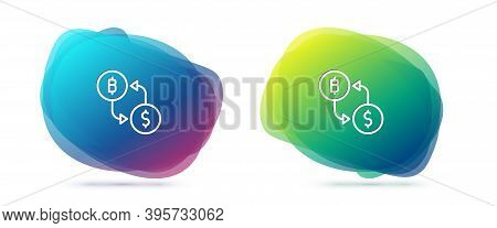 Set Line Cryptocurrency Exchange Icon Isolated On White Background. Bitcoin To Dollar Exchange Icon.