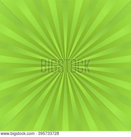 Green Ray Background. Vintage Abstract Texture. Retro Starburst, Sun Beam. Halftone Color. Light Bur
