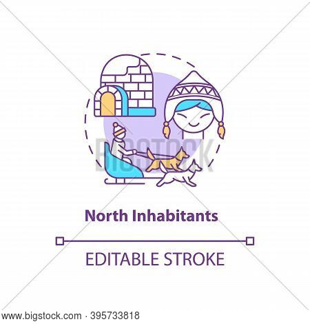 North Inhabitants Concept Icon. Sad Risk Group Idea Thin Line Illustration. Seasonal Depression. Arc
