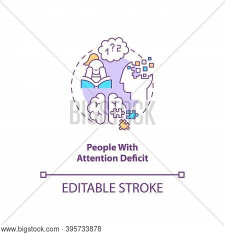 People With Attention Deficit Concept Icon. Sad Risk Group Idea Thin Line Illustration. Attention De