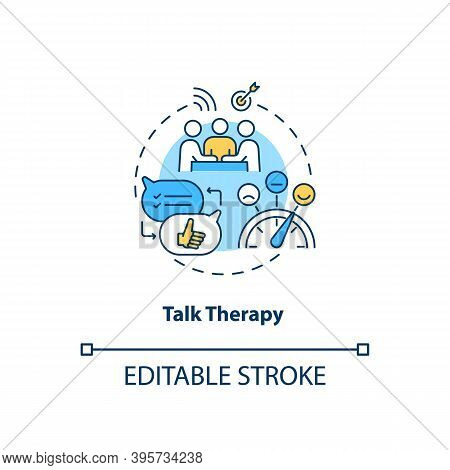 Talk Therapy Concept Icon. Sad Treatment Idea Thin Line Illustration. Psychotherapy And Counseling.