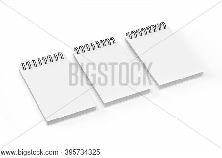 Notebook Mockup - Three Notebooks Isolated On White Background - 3d Render