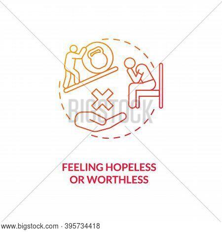 Feeling Hopeless And Worthless Concept Icon. Sad Symptom Idea Thin Line Illustration. Chronic Fatigu