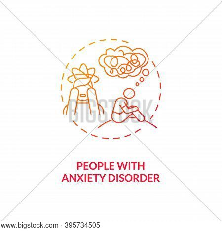 People With Anxiety Disorder Concept Icon. Sad Risk Group Idea Thin Line Illustration. Increased Hea