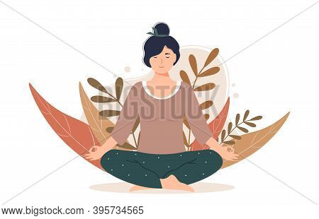 Woman Meditating In Nature And Leaves. The Female Character Is Sitting In The Lotus Position. Concep