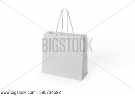 Paper Bag Mockup Isolated On White Background - 3d Render