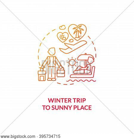 Winter Trip To Sunny Place Concept Icon. Tips To Ease Sad Idea Thin Line Illustration. Seeking Refug