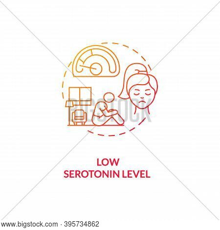 Low Serotonin Level Concept Icon. Sad Cause Idea Thin Line Illustration. Post-traumatic Stress Disor