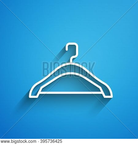 White Line Hanger Wardrobe Icon Isolated On Blue Background. Cloakroom Icon. Clothes Service Symbol.