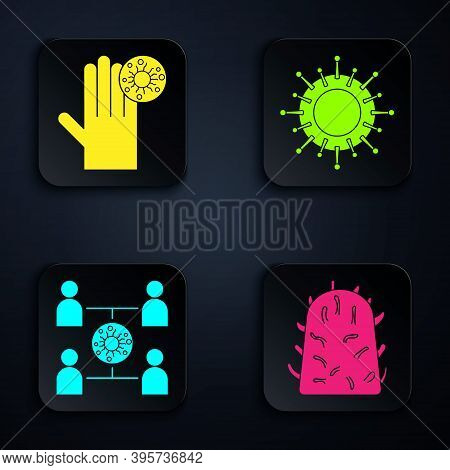 Set Rabies Virus, Hand With Virus, Virus Spread And Virus. Black Square Button. Vector