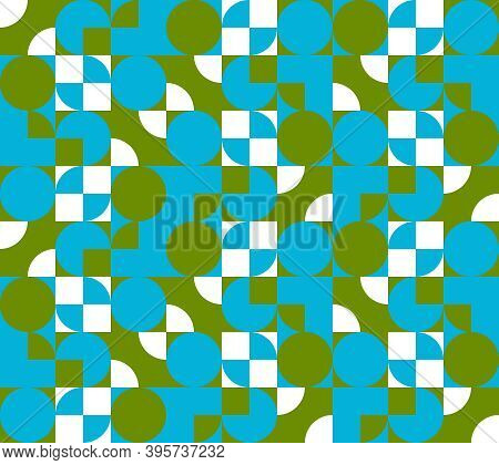 Abstract Ornament With Circles And Squares, Vector Seamless Pattern