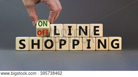 Time To Online Shopping. Male Hand Turns The Cube And Changes The Expression 'offline Shopping' To '