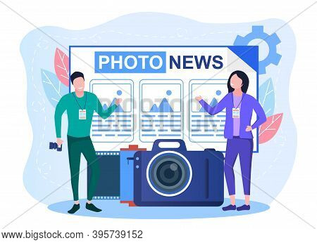 Concept Of Photojournalism. Mass Media Profession. News With Photo Pictures. Concept Of Paparazzi. C