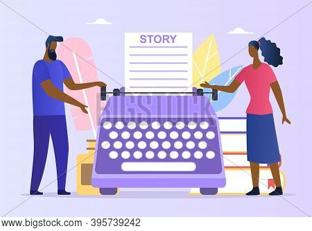 Abstract Poetry Concept. People Enjoying, Reading And Writing Poems. Woman And Man Standing Next To