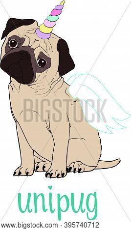 Pug Dog Cartoon Illustration. Cute Friendly Fat Chubby Fawn Sitting Pug