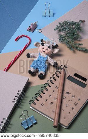 Christmas Set, Notebook Pencil With Knitted Bull, Symbol Of The New Year 2021