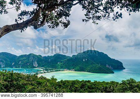 View Of  Ko Phi Phi  Island, Krabi Province, Andaman Sea, Thailand.turquoise Water Beach