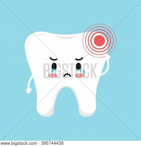 Tooth With Pain Ache Dental Icon Isolated On Blue Background. Cute Sick Teeth Character. Flat Cartoo