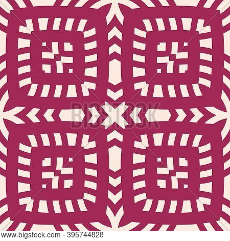 Vector Geometric Seamless Pattern. Abstract Ethnic Style Texture With Ornamental Grid, Mesh, Lattice
