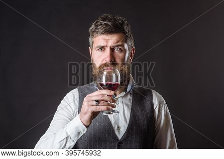 Wine Glass. Tasting Alcohol. Red Wine. Man With Alcohol. Bearded Man With Glass Of Wine. Man Drinks
