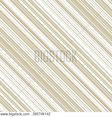 Golden Diagonal Stripes Pattern. Simple Vector Seamless Texture With Thin Slanted Lines, 45 Degrees