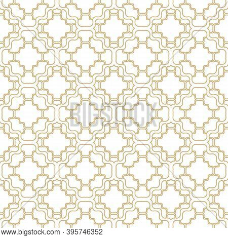Vector Geometric Ornament With Golden Grid, Net, Mesh, Lattice, Thin Wavy Lines. Abstract Ornamental