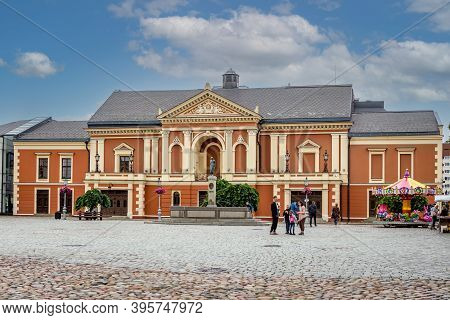 Klaipeda, Lithuania - July 10, 2020: Drama Theatre And The Memorial Of Poet Simon Dach And Taravos A
