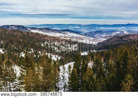 Winter Mountain Landscape In High Tatry, Slovakia.  Amazing Cloudy Sky.