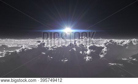 High Stratosphere Above Clouds, 3D Render Illustration