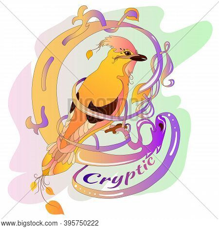 Slogan For A Girl. Drawing With A Bird For Print And Web Pages. Mysteriousness And Zest. Bird And Ce