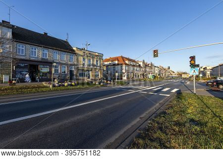 Jastrowie, Wielkopolskie / Poland - November, 20, 2020: Main Intersection In A Small Town. Old Tenem