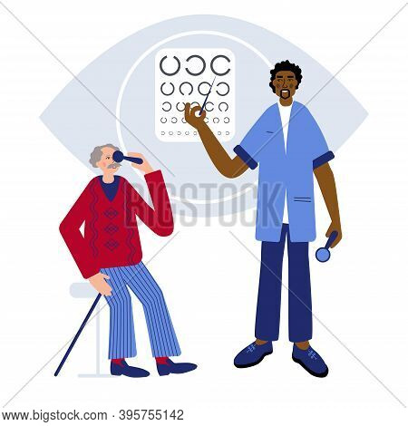 Care Of Seniors Health. Doctor Optometrist Is Checking Up Seniors Eyesight And Suggests Him To Take
