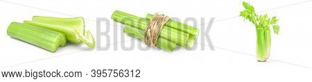 Collage Of Celery Isolated On A White Background Cutout
