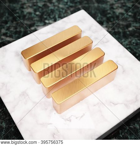 Text Align Justify Icon. Bronze Text Align Justify Symbol On White Marble Podium. Icon For Website,